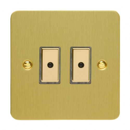 Varilight JFBE102 Ultraflat Brushed Brass 2 Gang V-Pro Remote/Touch Master LED Dimmer 0-100W
